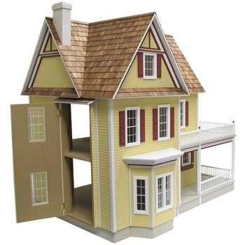 Victoria 39 s farmhouse dollhouse kit dollhouses for Farmhouse kit homes