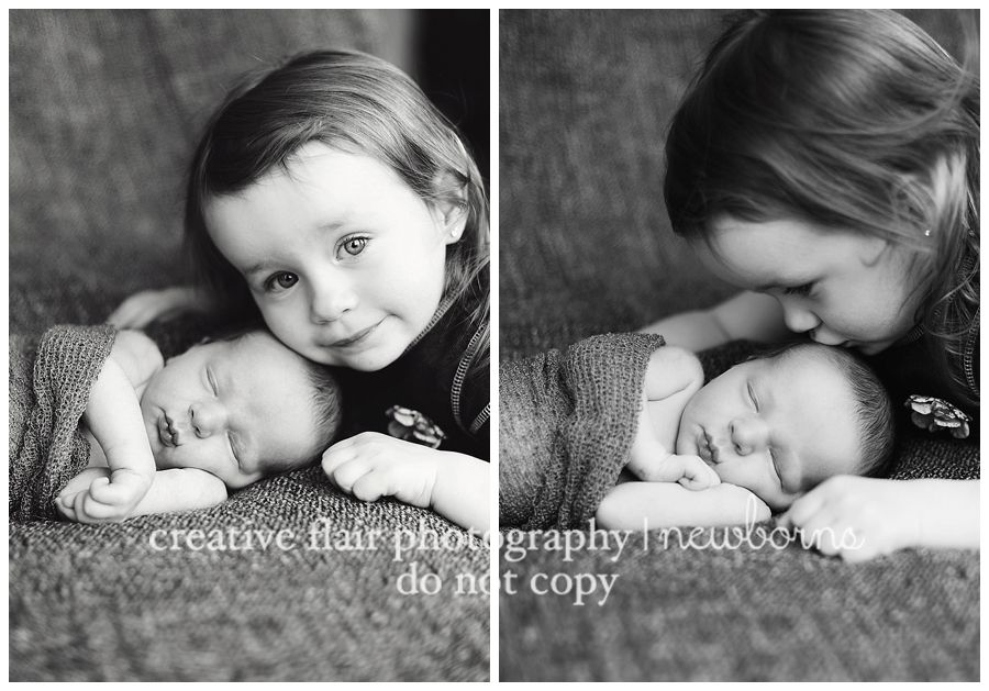 Newborn and sibling pose creative flair photography el paso tx