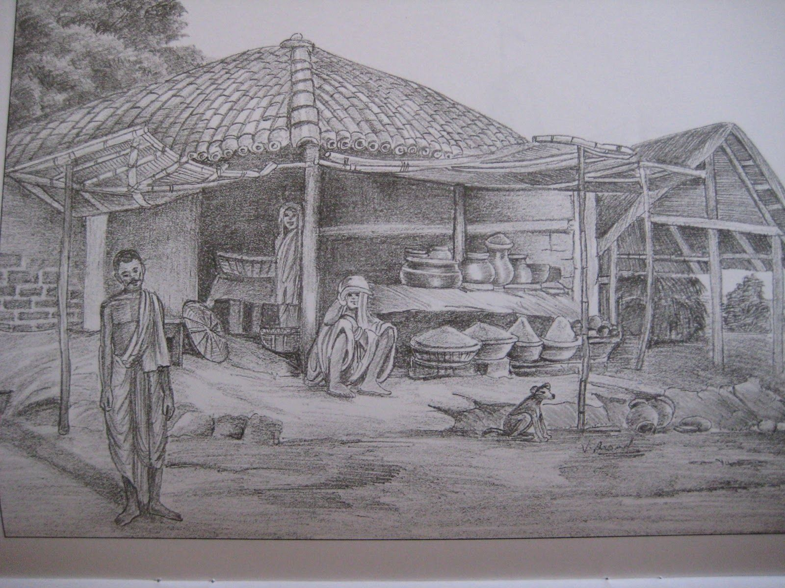 Line Drawing With Shading : Pencil shaded scenery nature shading landscape