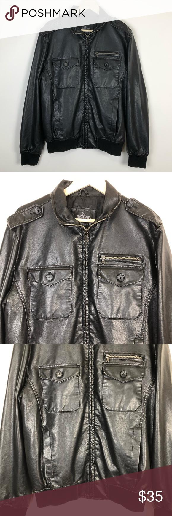 Express Mens Faux Leather Bomber Jacket M Black Pleather Coat Late 90s Era Excellent Con Faux Leather Bomber Jacket Faux Leather Bomber Leather Bomber Jacket [ 1740 x 580 Pixel ]
