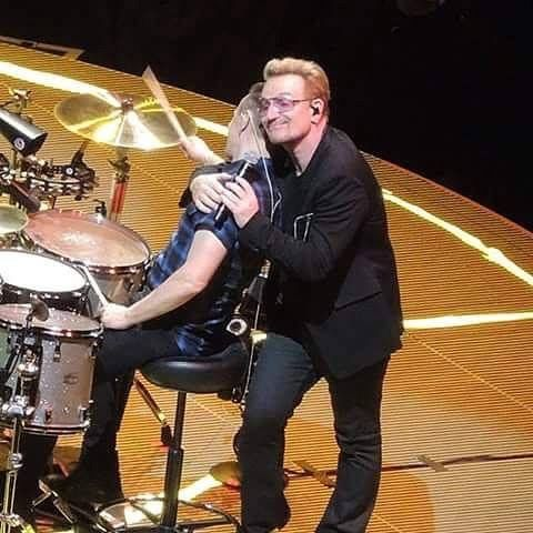 Bono loves his Larry Mullen Jr looks like i+e small stage