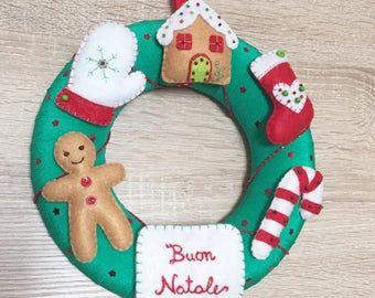 Photo of Decorazioni per alberi di Natale. Set di 5. ornamenti fatti a mano in feltro. Albero di Natale. Decorazione domestica Etichetta regalo