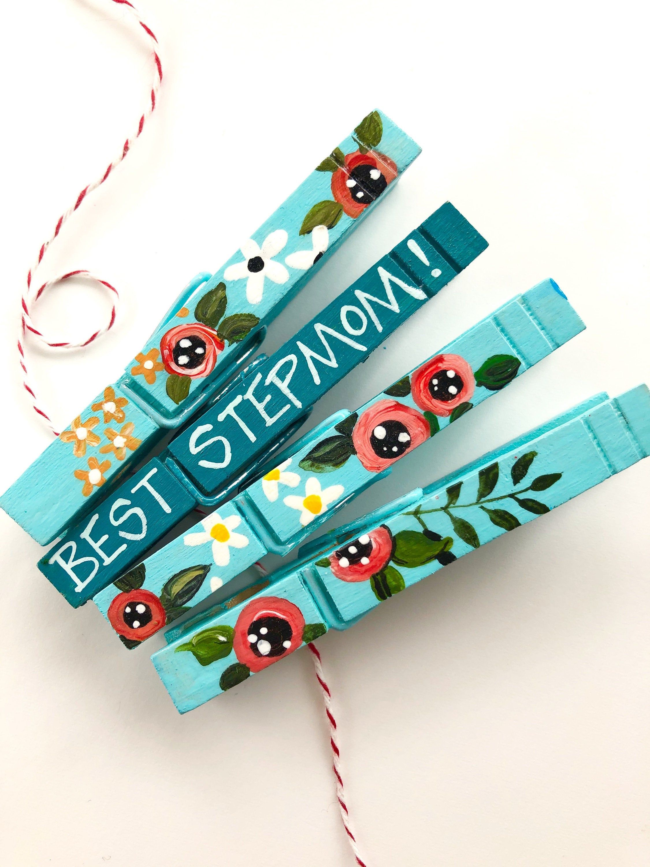 Best stepmom clothespins floral clothespins hand painted