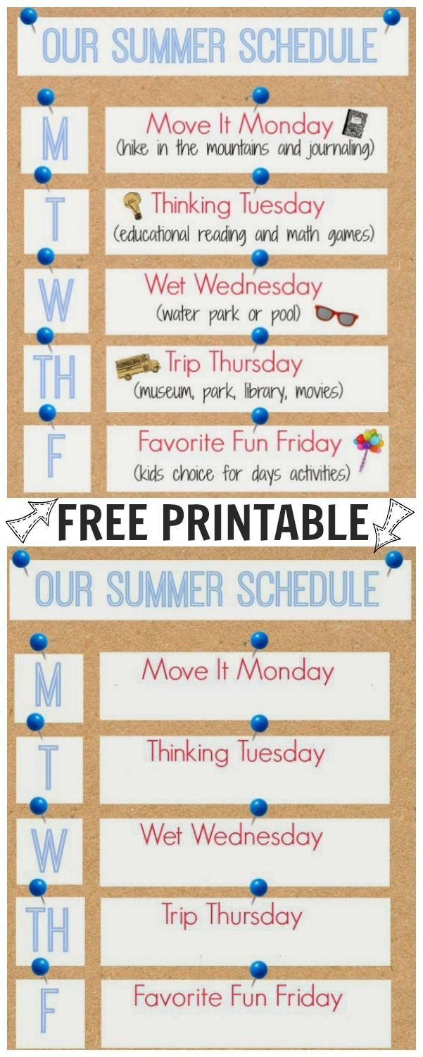 Our Summer Schedule Printable For The Boys Summer Activities For