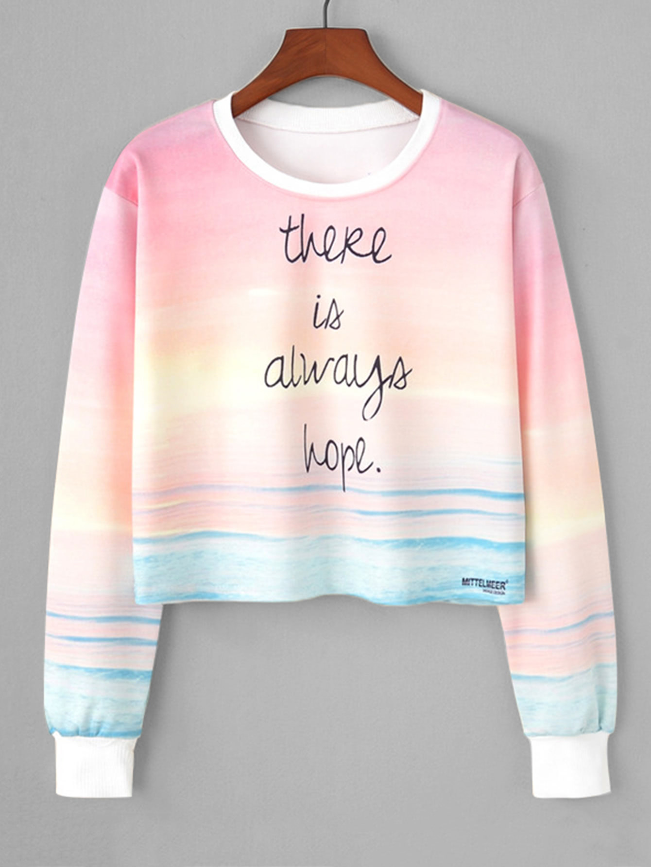 2019Fashion Slogan In Watercolor Crop Cute Print Sweatshirt HYED9bIe2W
