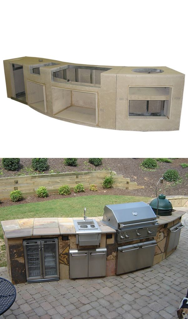 Curved Custom Outdoor Kitchen C 01 Constructed With A Galvanized Steel Frame Covered With Concre Outdoor Kitchen Island Outdoor Kitchen Outdoor Kitchen Design