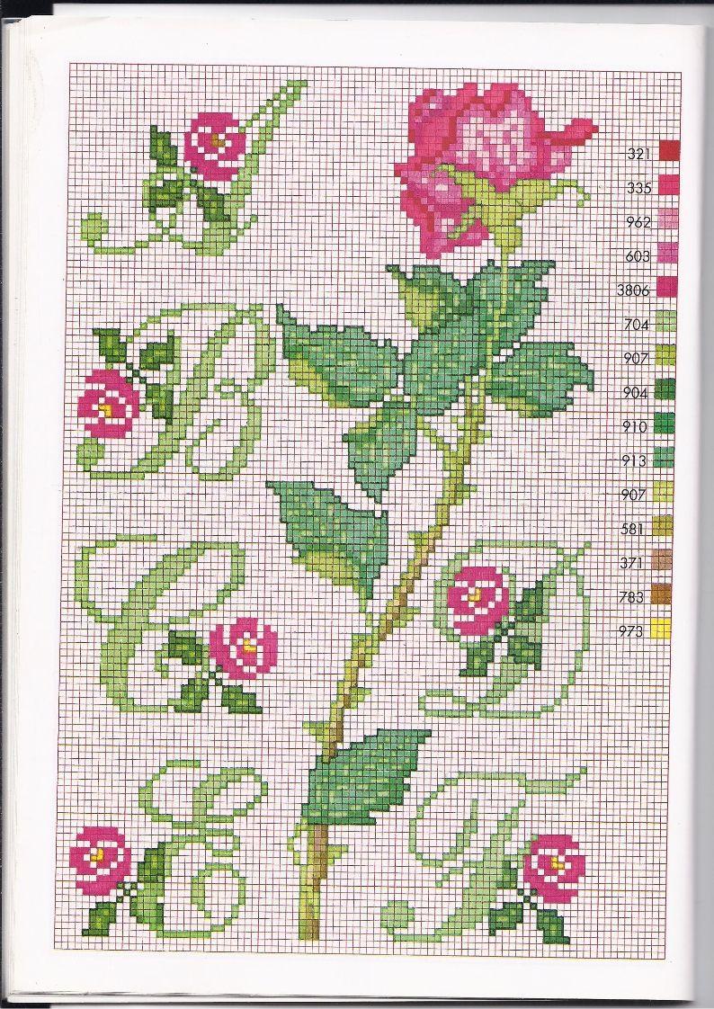 Alfabeto punto croce con le rose 1 alfabeto con fiori for Ricamo punto croce lettere