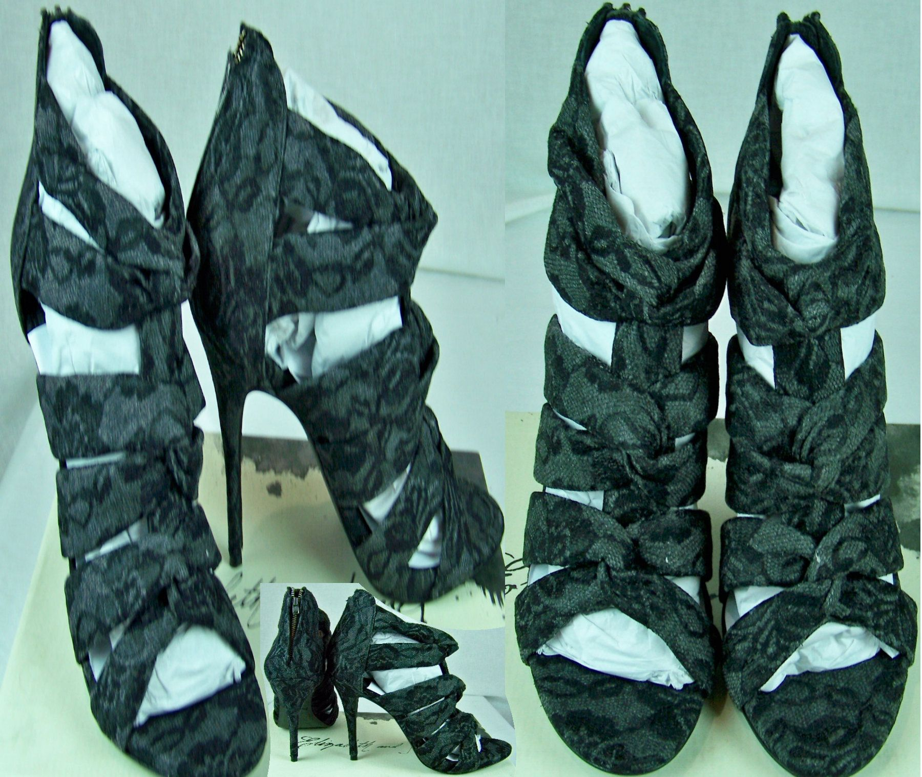 ELIZABETH & JAMES Love Black Lace Grey Heels