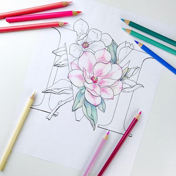 Flower Alphabet Coloring Page Magnolia Coloring Page Flower