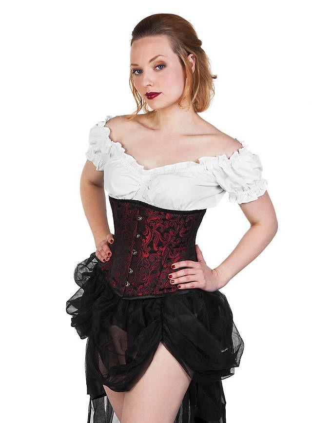 Brokat-Corsage schwarz-rot   Kleidung, Steampunk kleidung