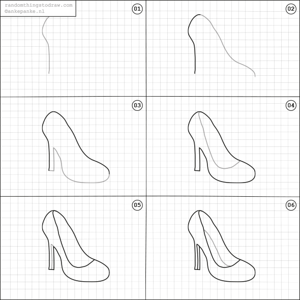 Learn How To Draw Fun Things With Easy Instructions Also Great For To Do With Kids Twice A Week New Ran Drawing High Heels Easy Drawings Pencil Drawings Easy