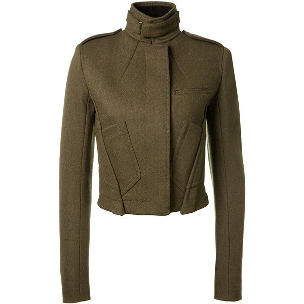 Haider Ackermann Khaki Wool Short Jacket (€2.115) ❤ liked on Polyvore featuring outerwear, jackets, long wool jacket, short jacket, brown wool jacket, button jacket and buckle jackets