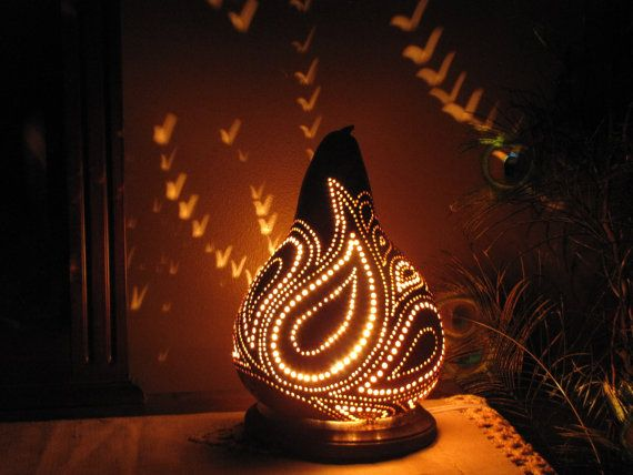 Paisley Gourd Lamp By Thegoldengourd On Etsy 85 00 Gourd Lamp Gourds Gourds Crafts