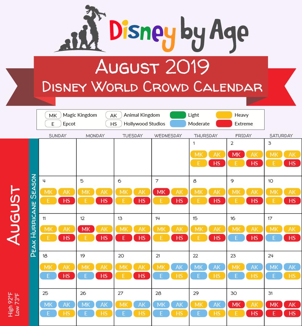 Calendario De Multitudes Disney 2019.August 2019 Disney World Crowd Calendar Disney In 2019