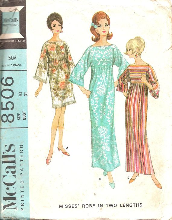 Vintage Sewing Pattern 1960s Robe McCalls 8506  I remember making robes like these from bath towels