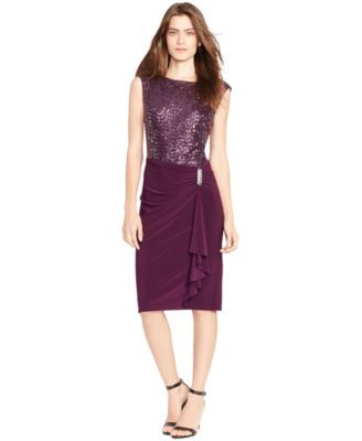 Fancy event coming up 2/6 - I hope this dress fits! Lauren Ralph Lauren Petite Cap-Sleeve Sequined Dress