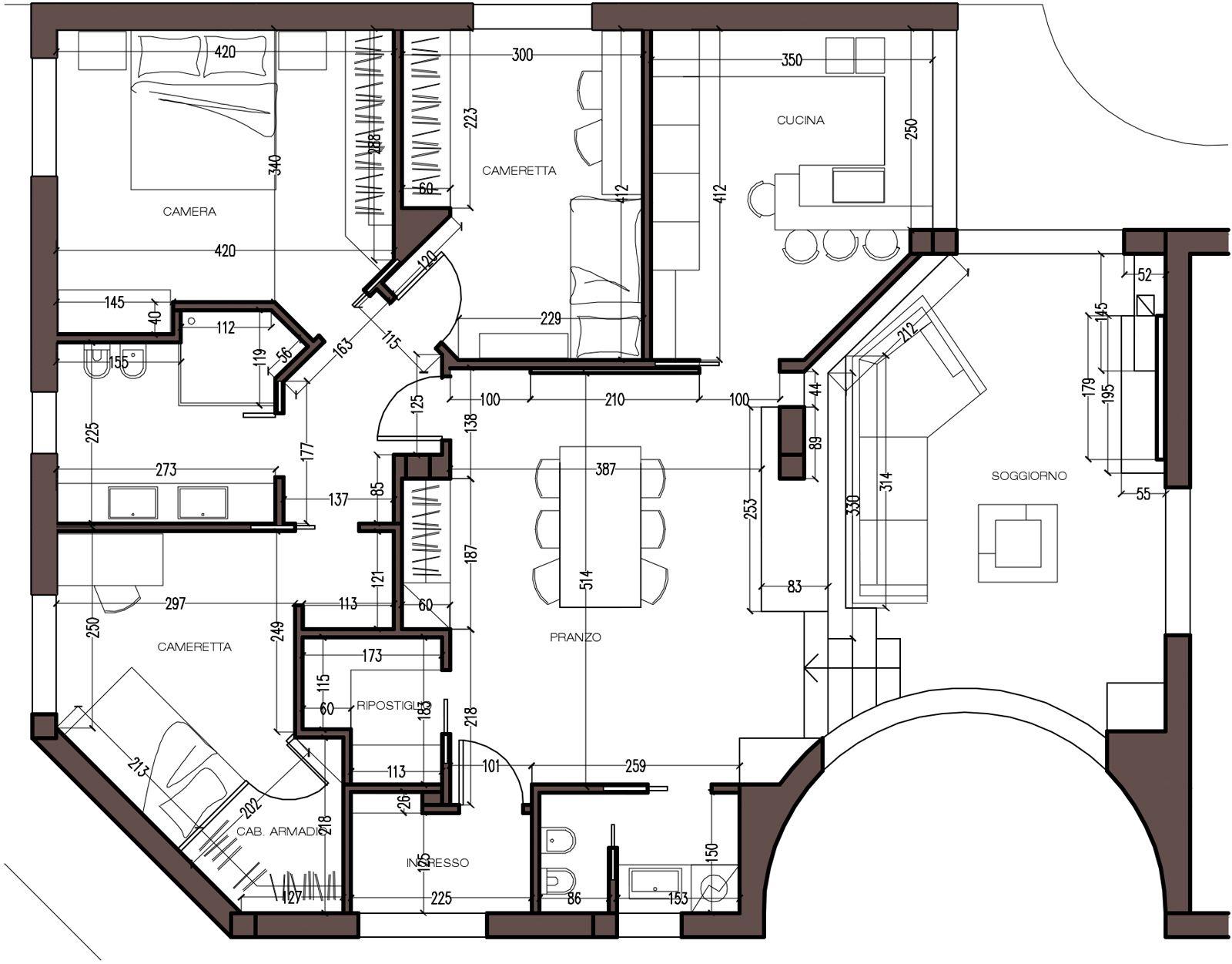 Una Mansarda Con Dislivello Progetto In 3d E Foto Della Casa Planimetrie Di Case Planimetrie Dell Appartamento Case