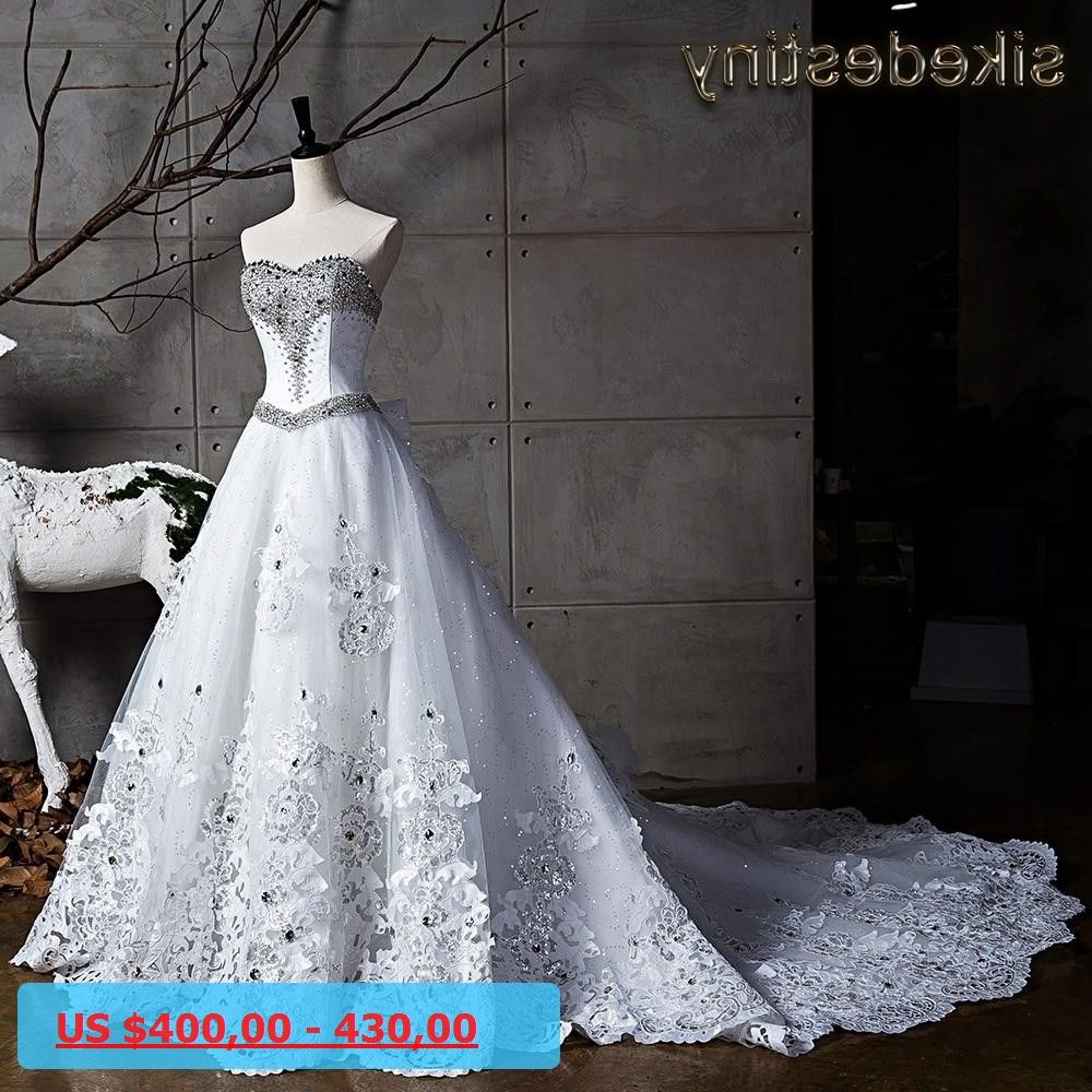 Luxury flowers wedding dresses real picture princess cathedral