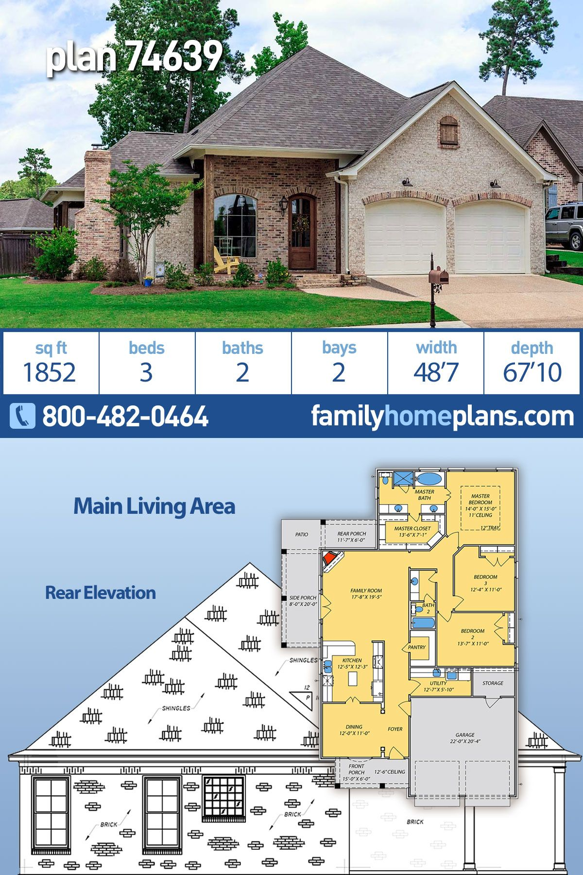 Traditional Style House Plan 74639 With 3 Bed 2 Bath 2 Car Garage In 2020 House Plans Ranch Style House Plans Acadian House Plans