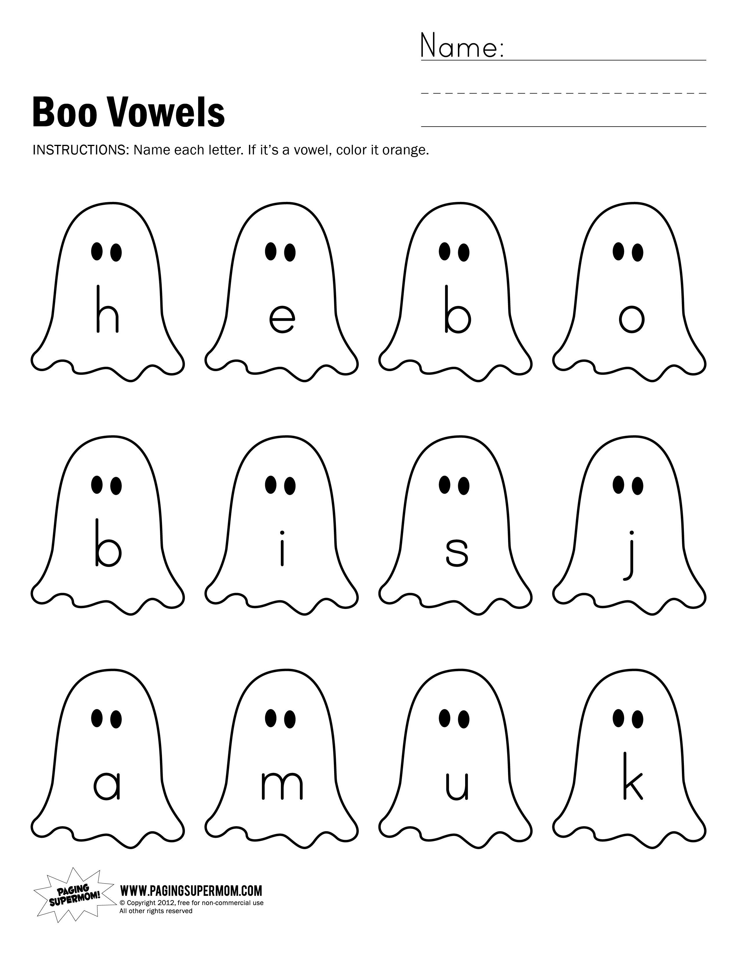 worksheet Worksheets Of Vowels For Kindergarten boo vowels worksheet paging supermom halloween pinterest supermom