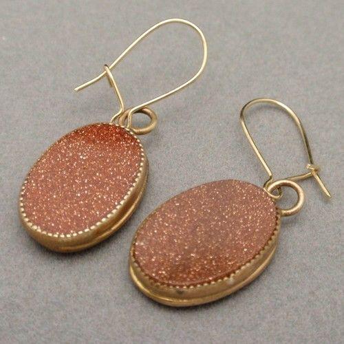 Victorian Goldstone Earrings Oval Gold Filled Wires For Pierced Ears Ebay