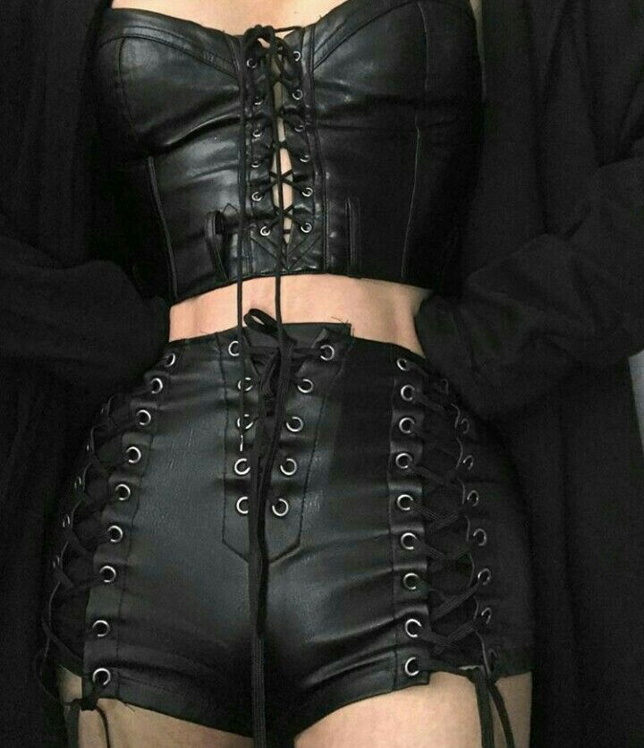 Gothic-Inspired Black Leather Lace-Up Corset & Shorts #shortslace Gothic-Inspired Black Leather Lace-Up Corset & Shorts