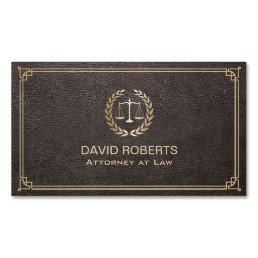 Lawyer Attorney At Law Faux Leather Gold Scale Business Card