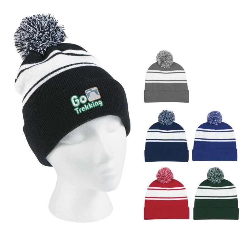 Embroidered Two-Tone Knit Pom Beanie With Cuff $5.49/ea