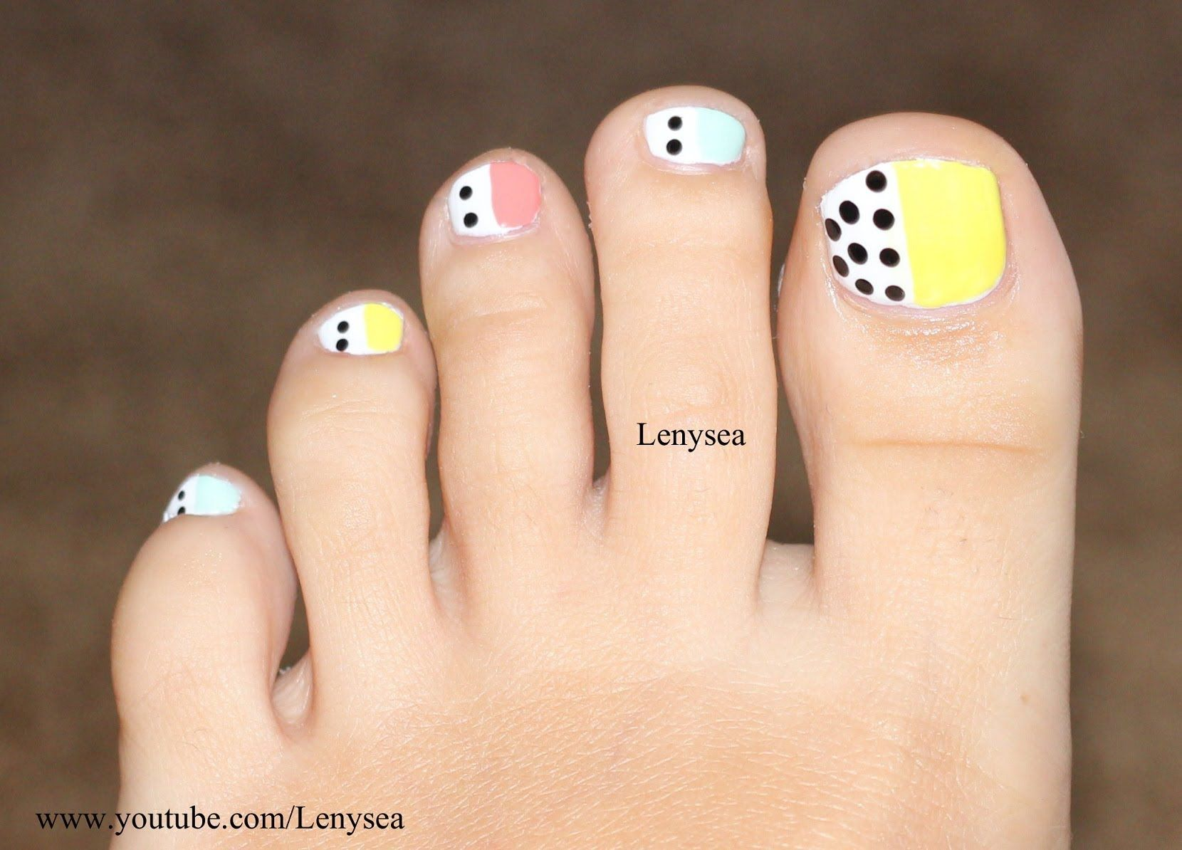 Easy Toe Nail Design for Beginners: Pastels and Polka Dots | All ...