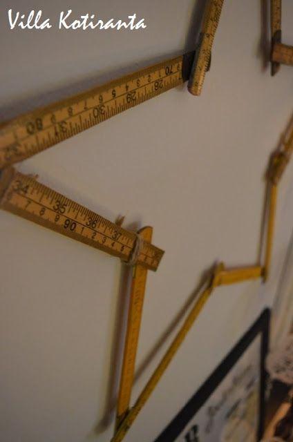 Jouluinen tähti vanhoista puisista mitoista / A Christmas decoration star made of old wooden measure sticks