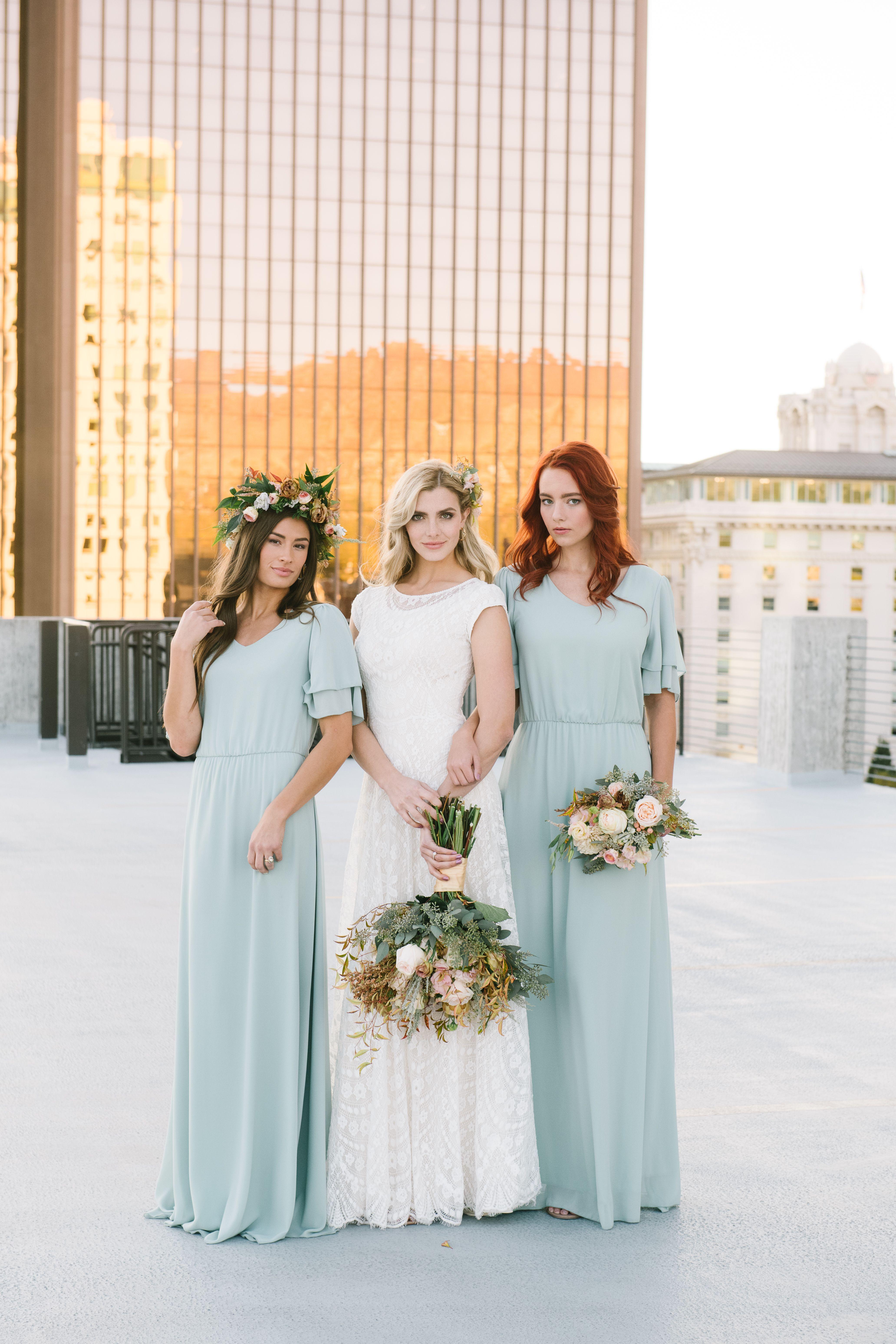 Blue Bridesmaid Dresses -   17 sage green bridesmaid dresses modest ideas