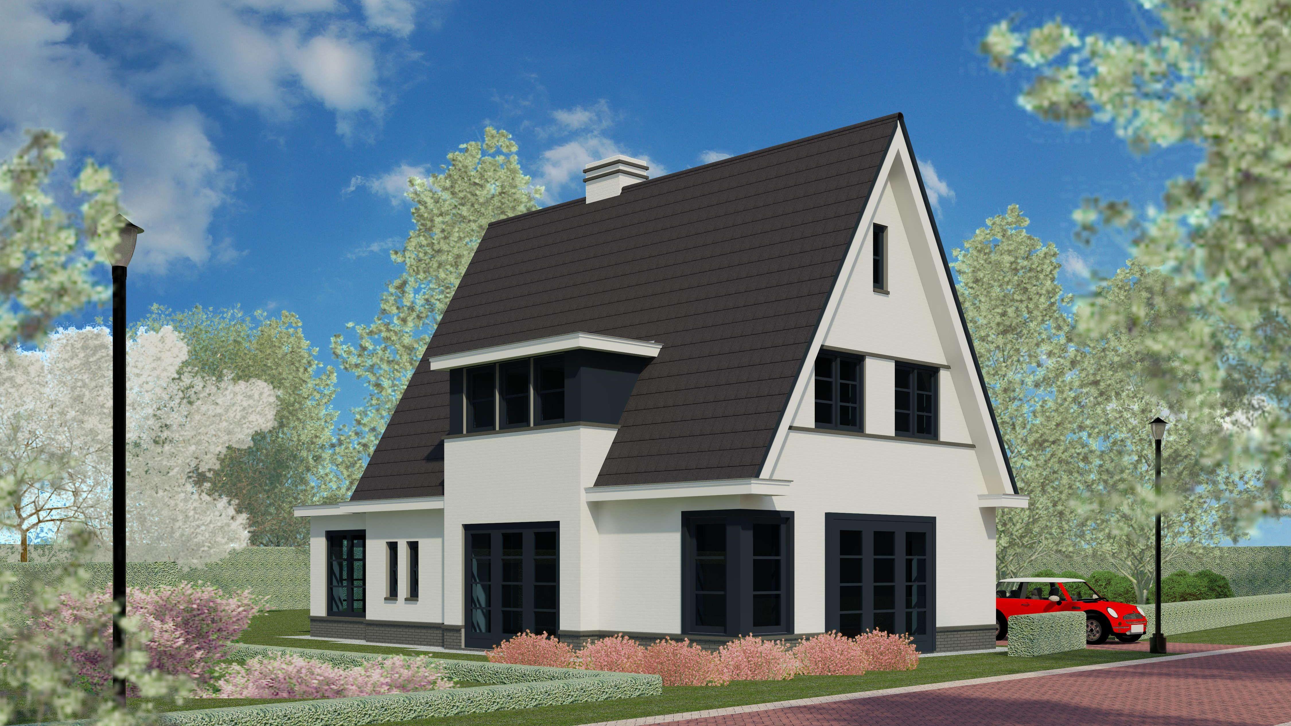 Nieuwbouw woning eigentijds en klassiek jaren 30 wit gekeimd vlakke