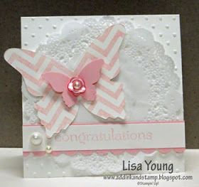Add Ink and Stamp: Chevron Butterfly Baby Card