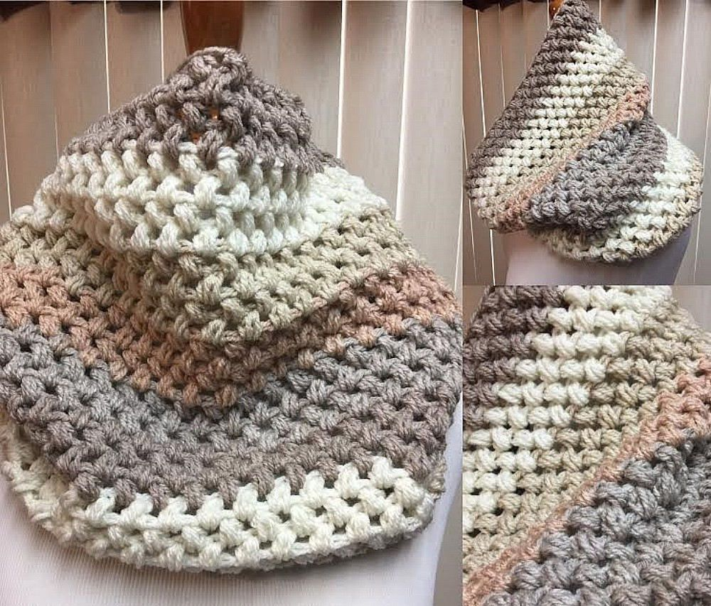 Puff Stitch Cowl, Crochet Cowl Scarf, Beige and Cream Cowl, Striped Cowl, Multi Color Cowl, Gifts for Her, Circle Scarf, Crocheted Cowl by CozyNCuteCrochet on Etsy