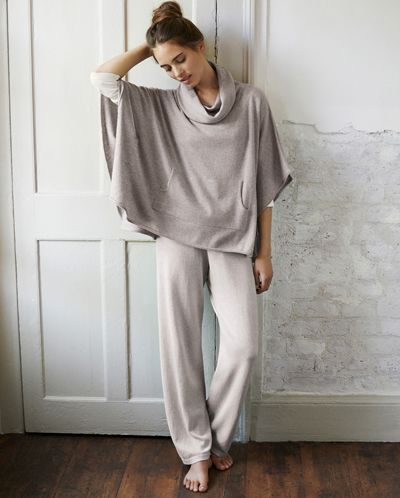 In grey - Poetry - Knitted Lounge Trousers - Beautiful winter loungewear, these fine knit, pure cotton trousers are soft and comfortable. With a long, straight leg and a ribbed elasticated waistband, they are the perfect pottering-about-the-house, trousers. 100% cotton