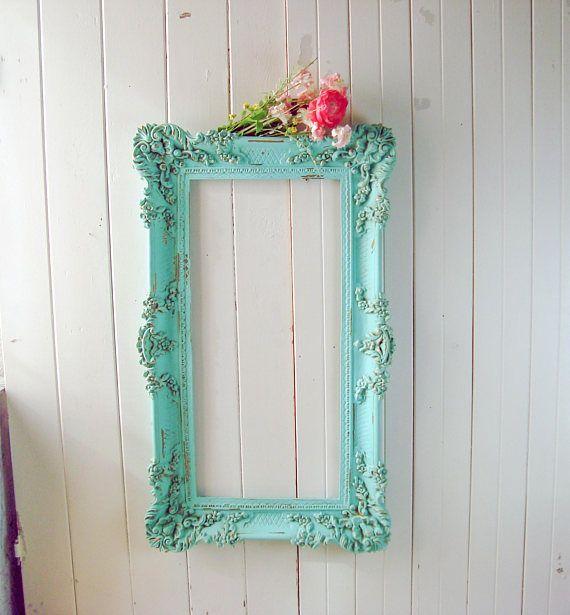 Large Teal Vintage Frame, Aqua Ornate Open Frame, Wedding Frame ...