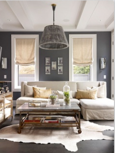 Cottage Style Living Room With Mid Grey Walls And Deep Cream Sofa Hide Area Carpet