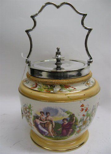 597 English Porcelain Biscuit Jar