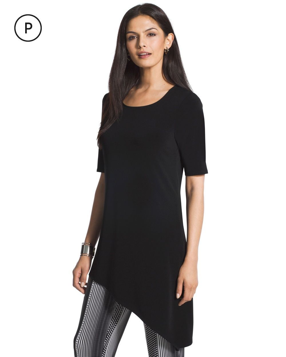 869408e3515 Chico's Women's Petite Knit Kit Asymmetrical Black Top | Products ...