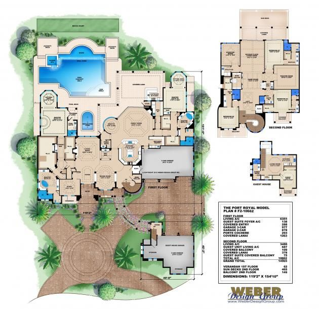 tuscan house plan, luxury 10,000+ sq/ft, 2 story mansion home plan