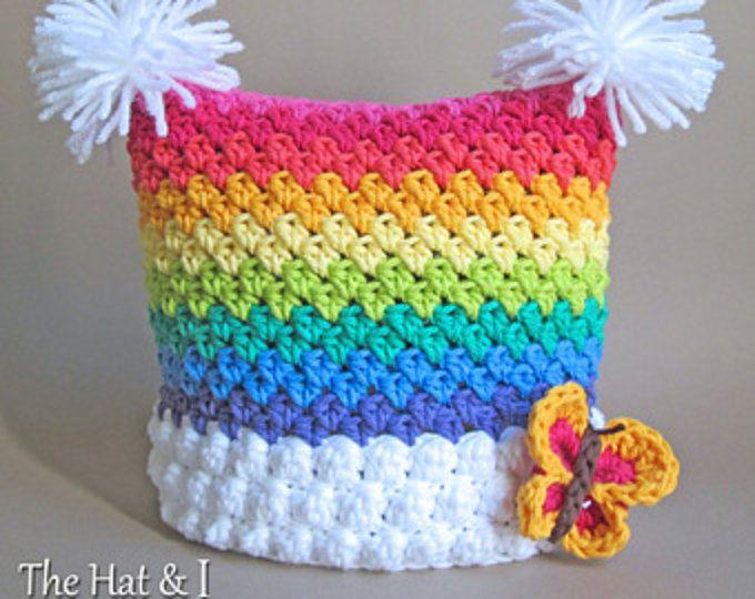 CROCHET PATTERN - Over the Rainbow - crochet rainbow hat, square hat ...