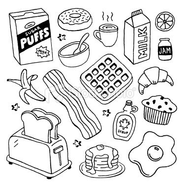 A Doodle Page Of Breakfast Foods Doodle Pages Doodles Sketch Book