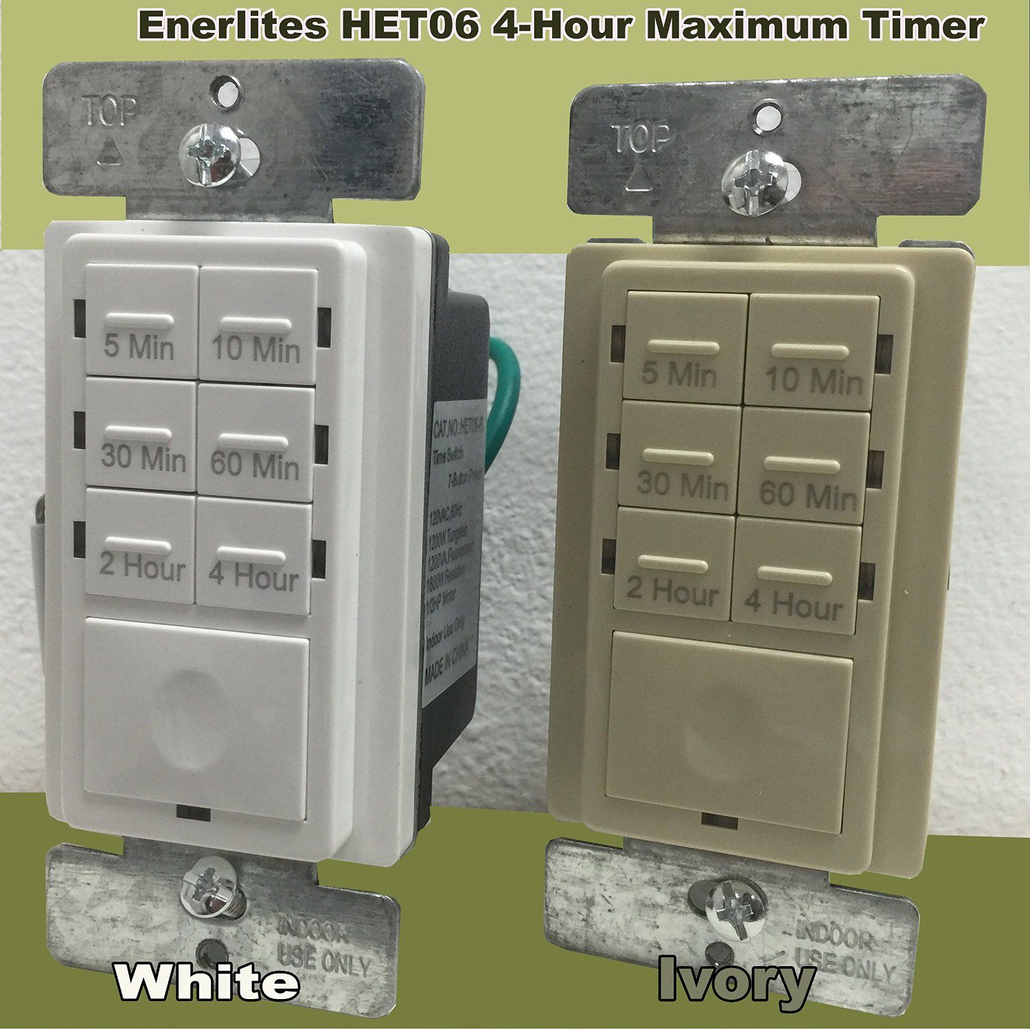 Enerlites Het06 Countdown Timer Switch For Light Fan And Motor 5 10 30 60 Mins 2 4 Hours 7 Button White Countdown Timer Plates On Wall Locker Storage