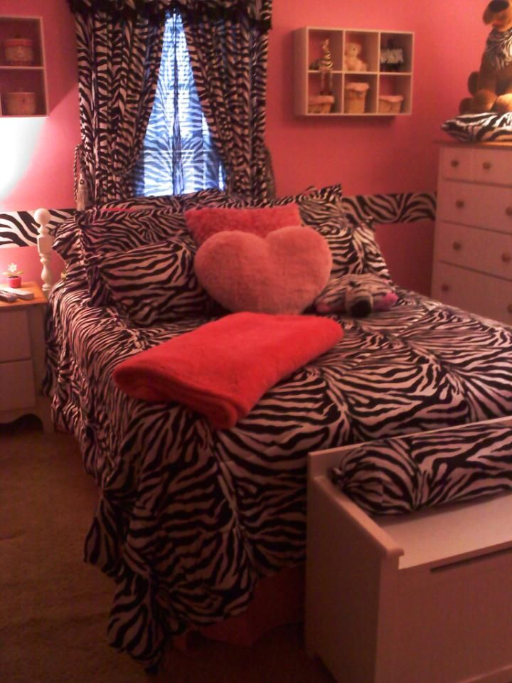 PINK & ZEBRA ROOM:  I gave my daughter a total room makeover for her birthday . . . it went from pink and lime green to pink and zebra . . . she LOVES it!