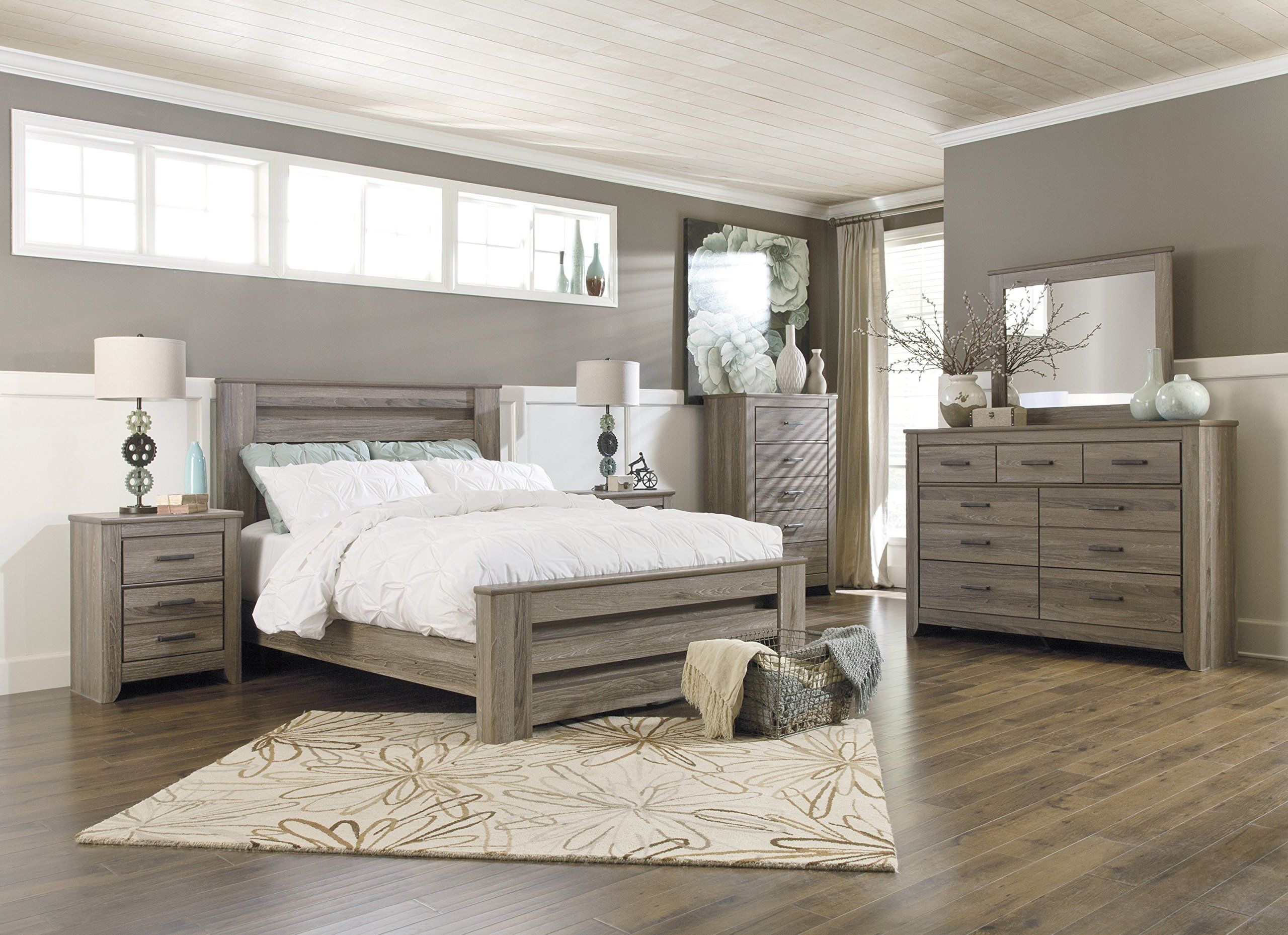 Ashley Zelen 5PC E King Panel Bedroom Set With Two