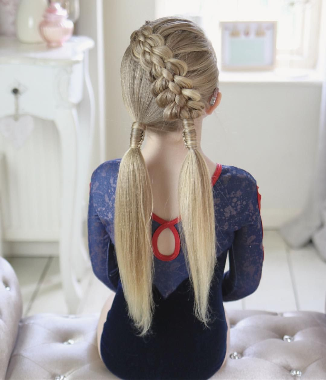 Baylees hair for gymnastics class today have a great