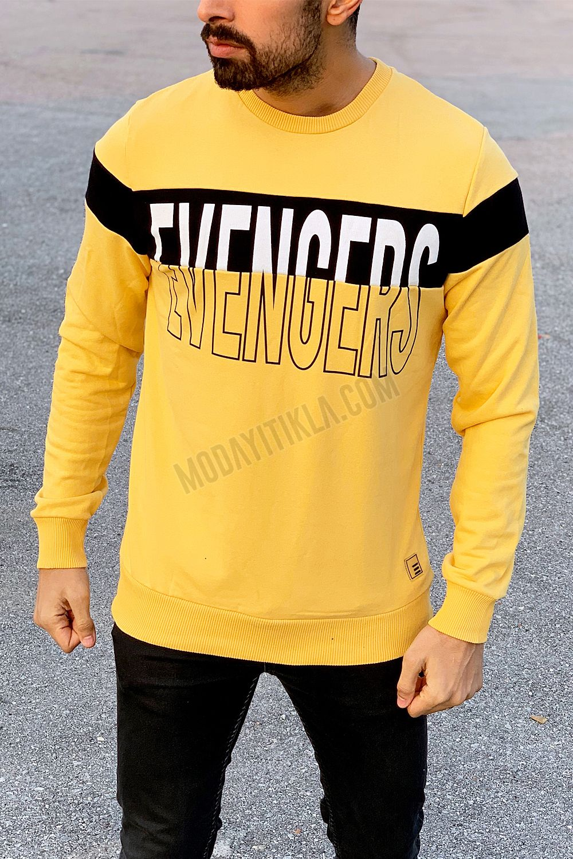 Erkek Evengers Yazı Detaylı Sarı Sweatshirt