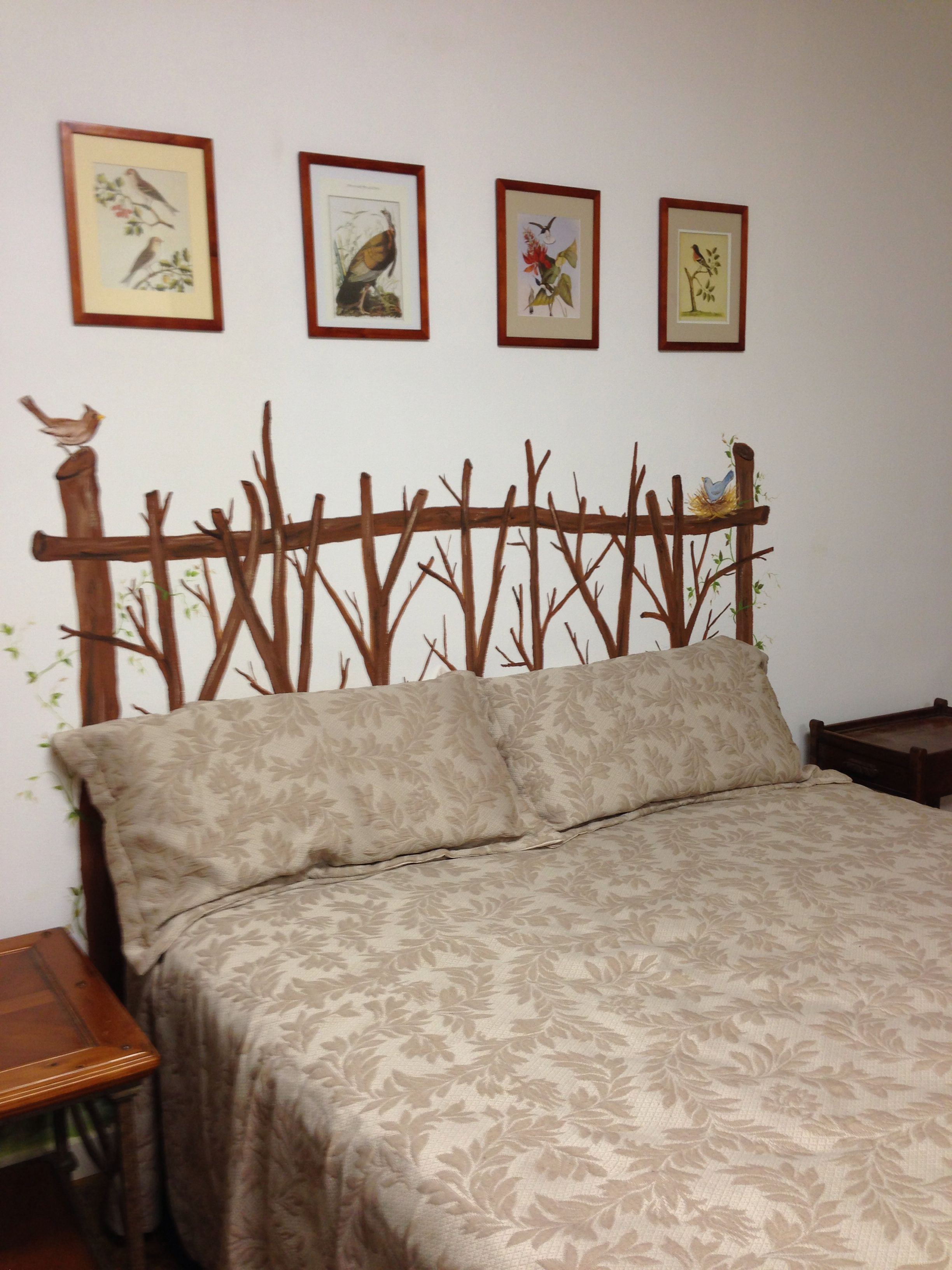twig headboard painted on the wall the home pinterest