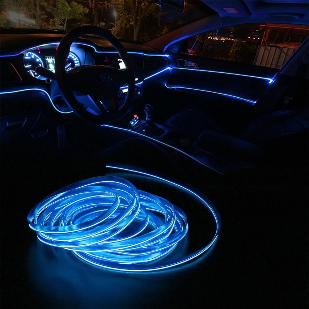 4pc BLUE LED INTERIOR LIGHT KIT for ALL CARS w ACCENT NEON GLOW 3 MODE NEW
