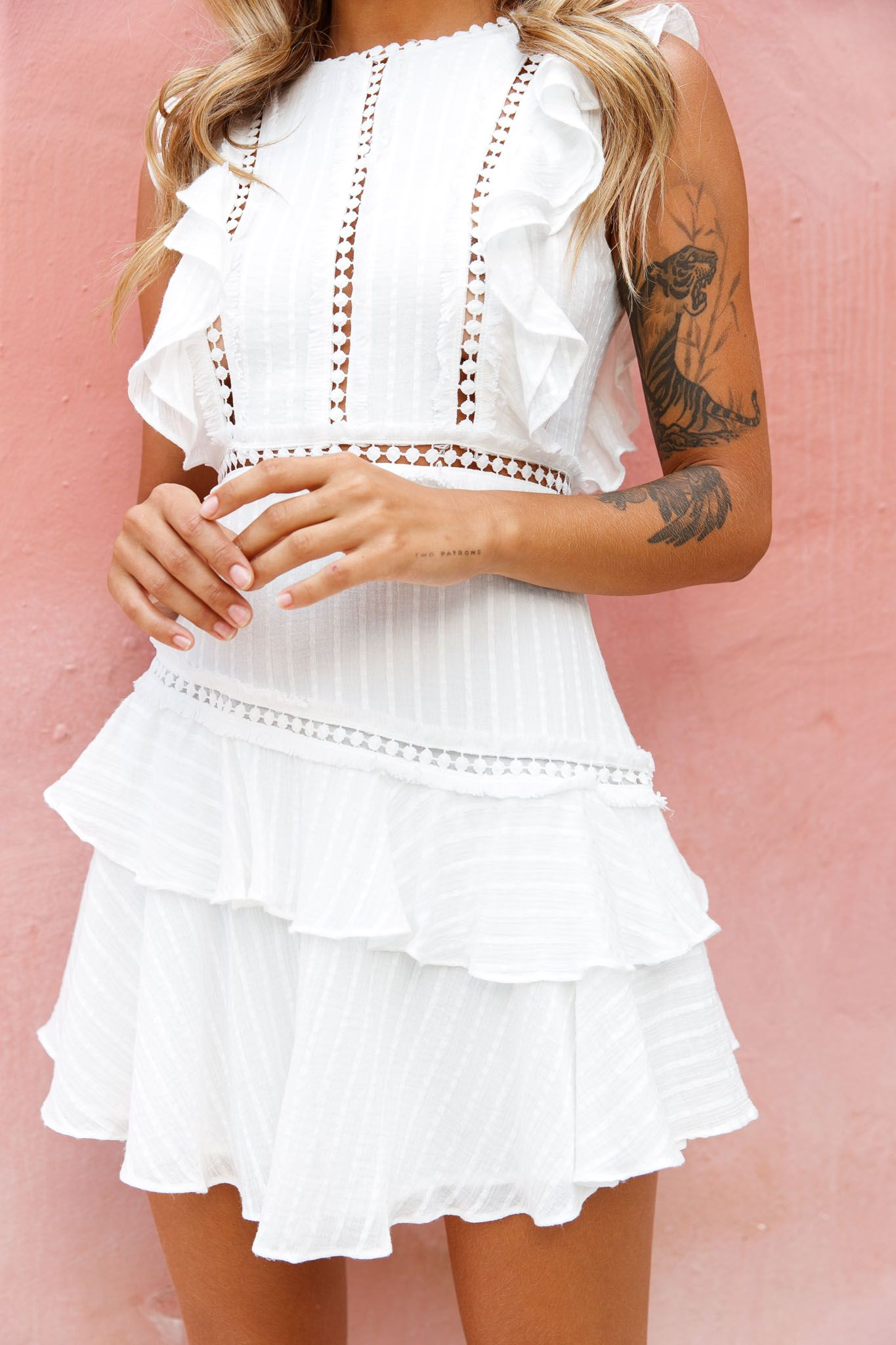Melrose Sleeveless Crochet Ruffle Detail Dress White Midi Maxi Dress Fashion Casual Dresses [ 2048 x 1365 Pixel ]